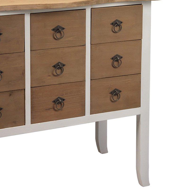 commode 9 tiroirs 80x40x76cm en bois brut et blanc enkel. Black Bedroom Furniture Sets. Home Design Ideas