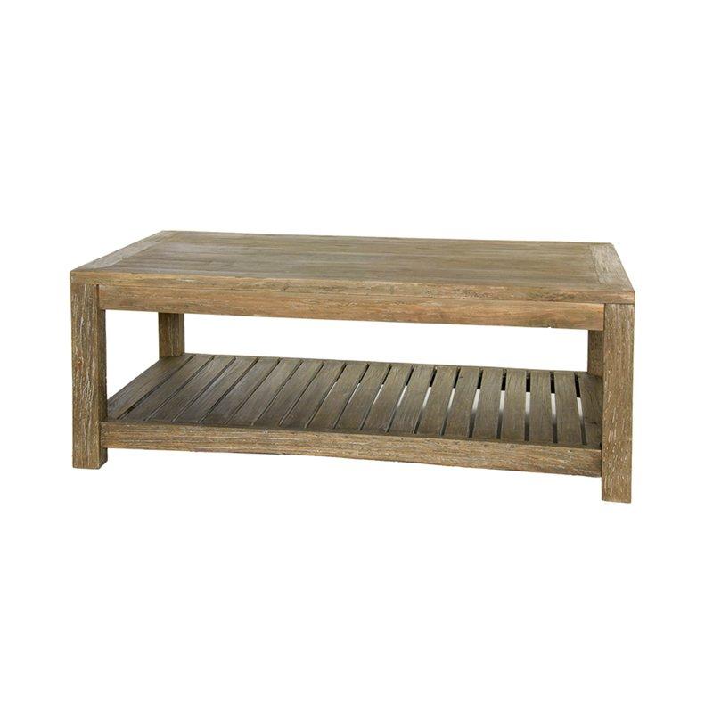 Table basse en bois brut vieilli 120x65x45cm lausanne maison et styles - Table basse bois brut ...