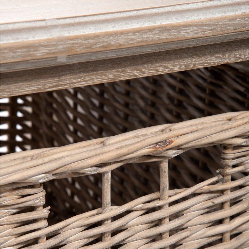 table basse avec paniers osier coloris ch ne patin. Black Bedroom Furniture Sets. Home Design Ideas