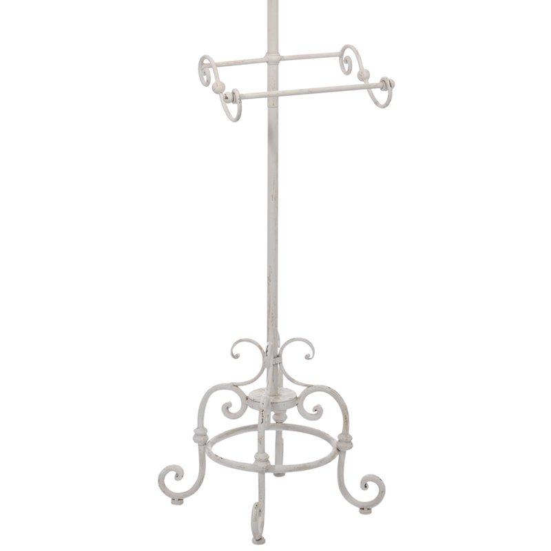 Valet fer forg 179cm coloris blanc vieilli maison et styles for Valet de chambre en fer forge