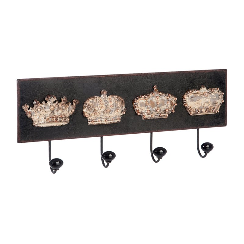 pat re 4 crochets couronne 55cm coloris noir et cuivr maison et styles. Black Bedroom Furniture Sets. Home Design Ideas