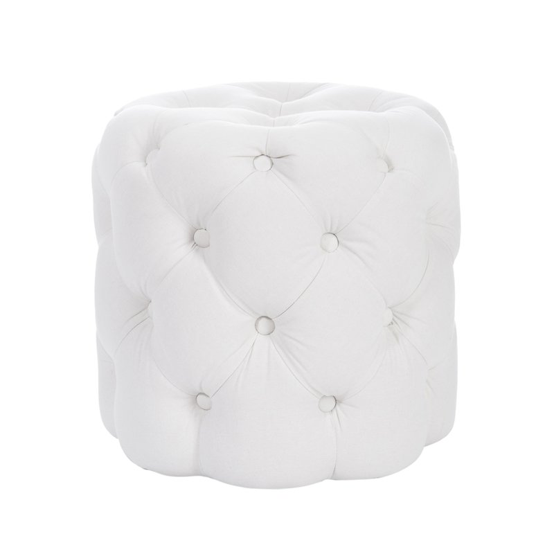 pouf cylindrique capitonn 45x44cm coloris blanc maison. Black Bedroom Furniture Sets. Home Design Ideas