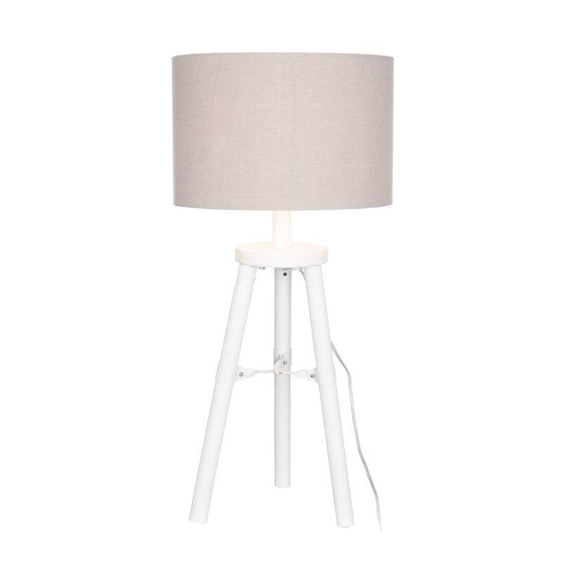 lampe tr pied abat jour cr me pied blanc 72cm maison et. Black Bedroom Furniture Sets. Home Design Ideas