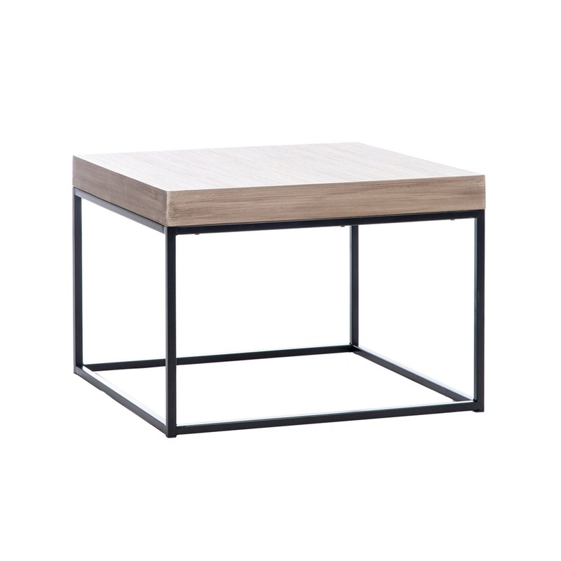 Table basse 50x50x35cm coloris bois et m tal noir bergen for Table bergen