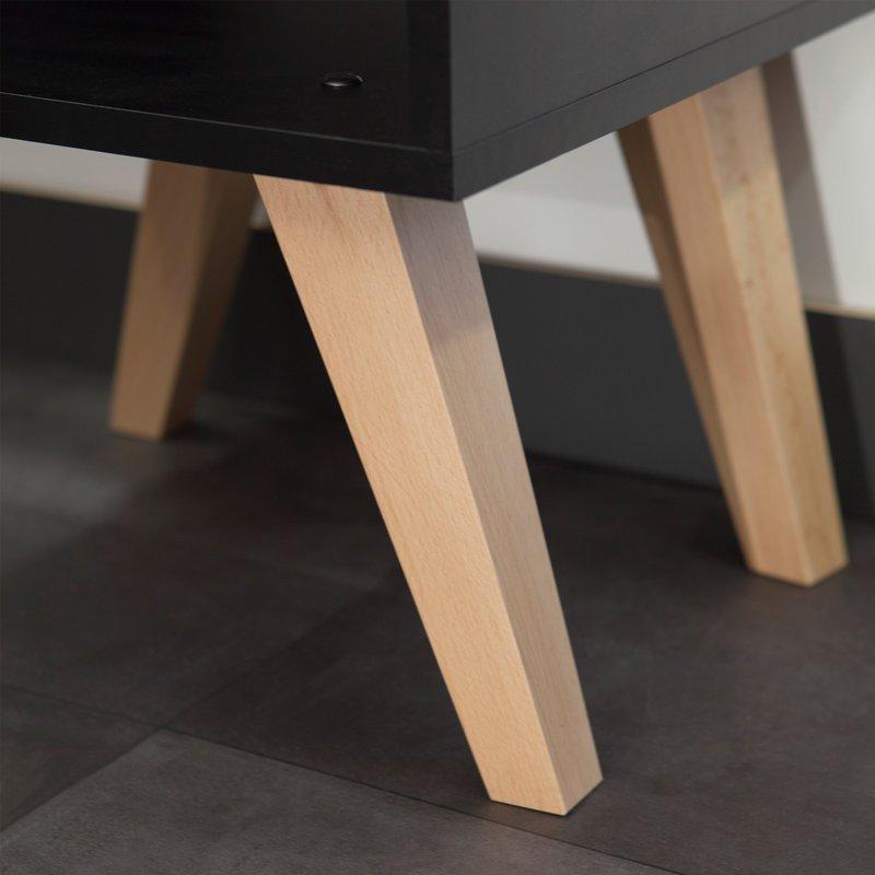bout de canap pieds inclin s coloris noir et h tre maison et styles. Black Bedroom Furniture Sets. Home Design Ideas