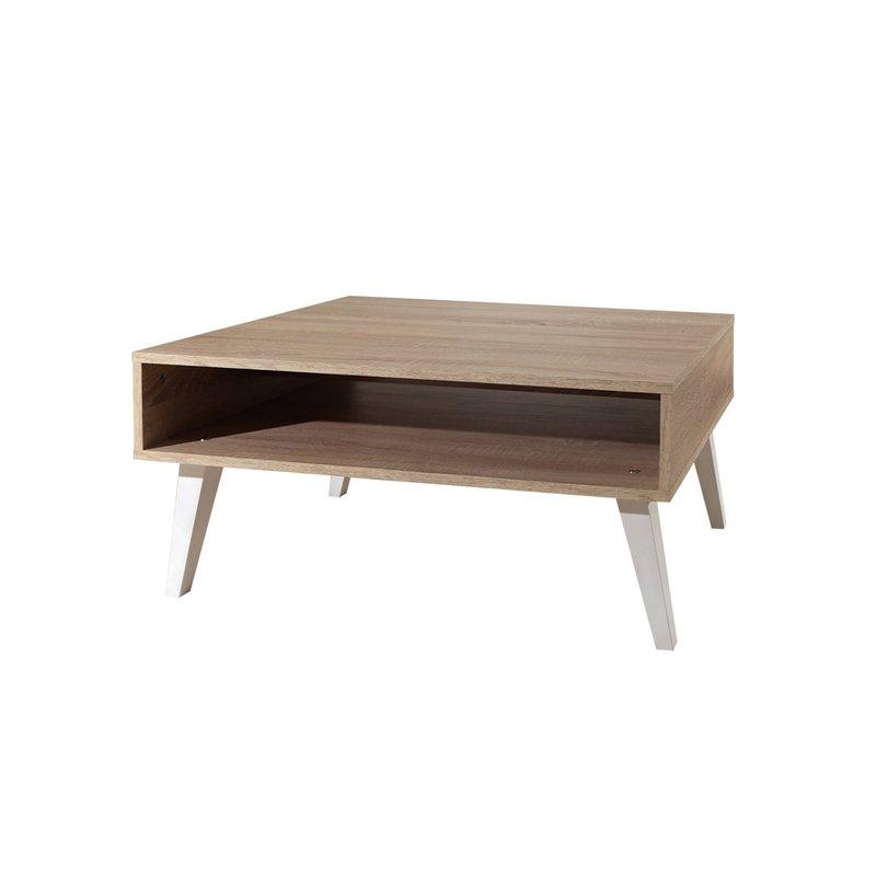 table basse cubique pieds inclin s coloris ch ne et blanc maison et styles. Black Bedroom Furniture Sets. Home Design Ideas