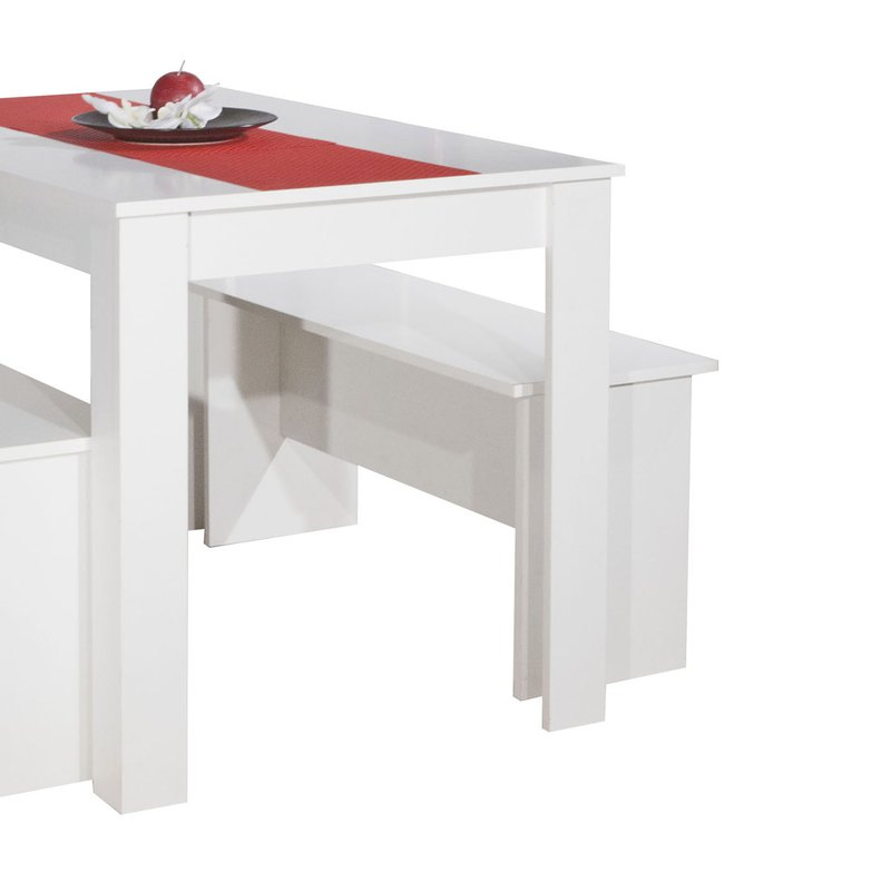 ensemble 2 bancs table 4 personnes coloris blanc. Black Bedroom Furniture Sets. Home Design Ideas