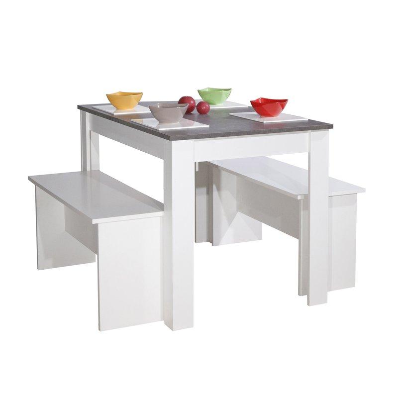 Ensemble 2 bancs table 4 personnes coloris blanc et for Table 4 personnes