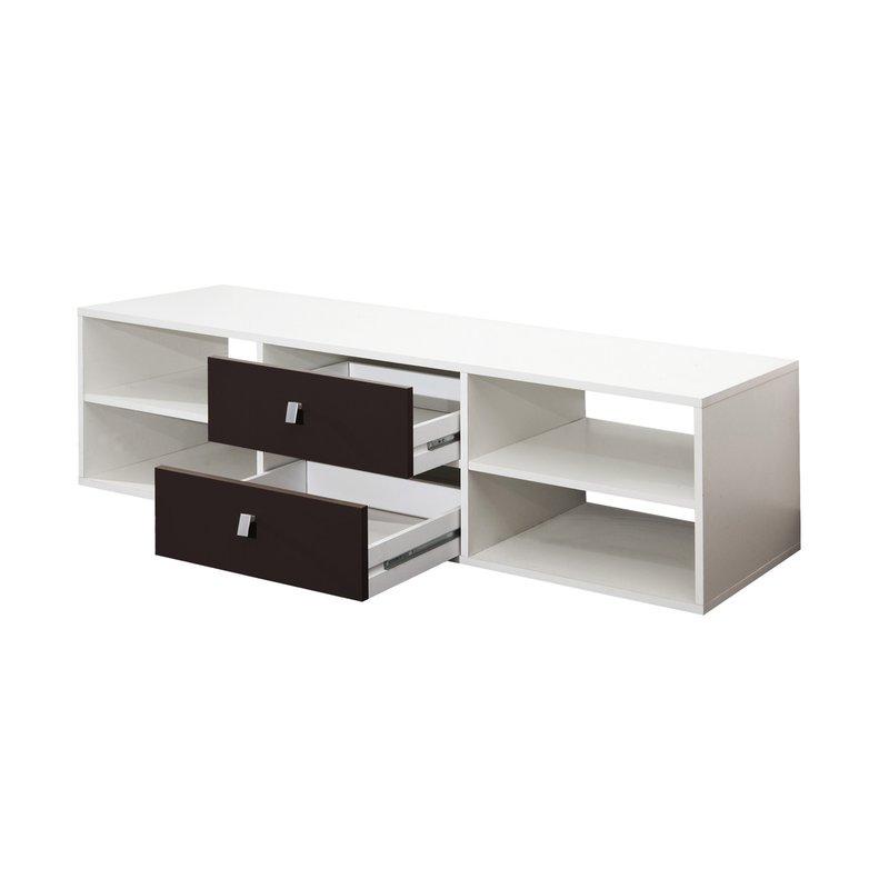 Meuble tv blanc 4 niches 2 tiroirs coloris noir maison for Meuble tv 4 niches 2 tiroirs