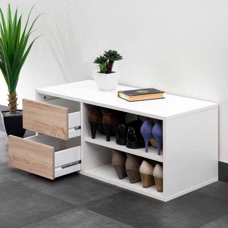 Banc de rangement 2 tiroirs pour entr e coloris blanc et for Rangement pour entree maison
