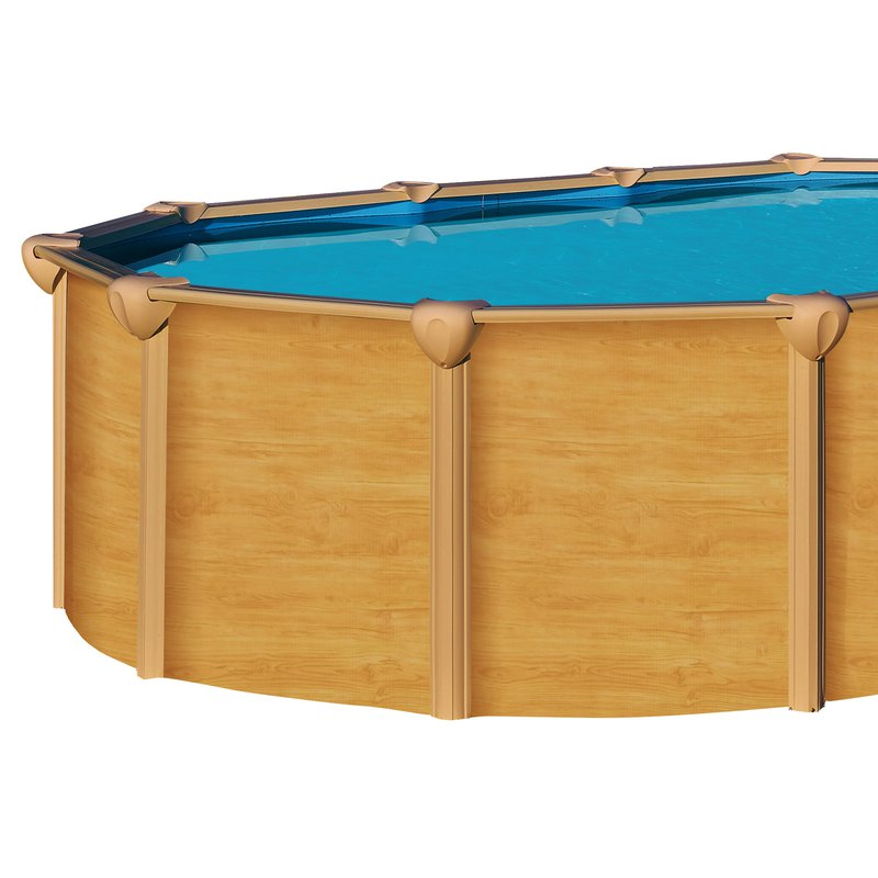 Piscine hors sol acier aspect bois 6 40 x 3 90 m osmose for Piscine hors sol bois destockage