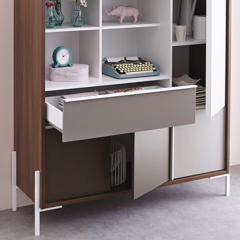 buffet haut 120 x 140 cm coloris noyer maison et styles. Black Bedroom Furniture Sets. Home Design Ideas