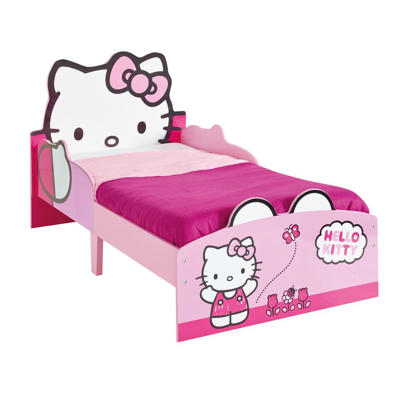 lit hello kitty 140x70cm avec t te de lit chat coloris rose et blanc maison et styles. Black Bedroom Furniture Sets. Home Design Ideas