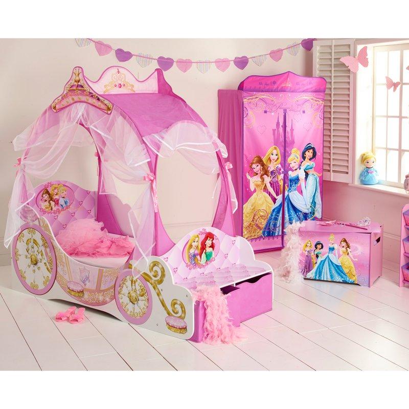 Lit carrosse princesses disney rangements 140x70cm coloris rose maison et styles - Lit carrosse princesse disney ...
