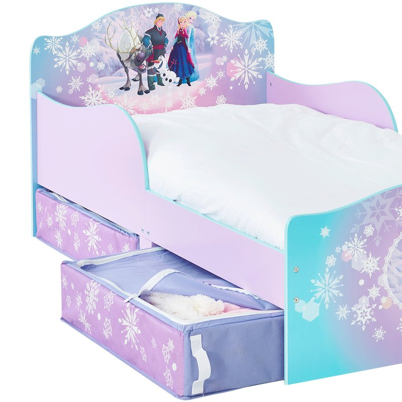 lit reine des neiges 140x70cm avec tiroirs coloris violet. Black Bedroom Furniture Sets. Home Design Ideas