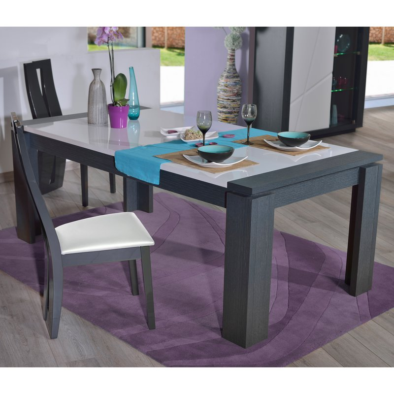 Table laque blanche avec rallonge bramante une table for Table extensible mustang