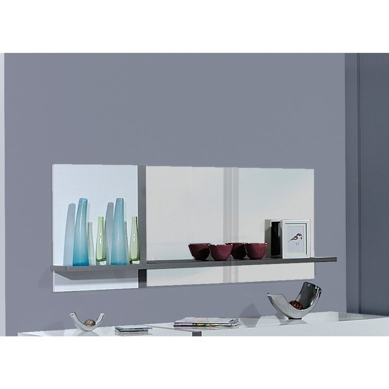 miroir avec tablette 173x17x61cm coloris blanc laqu et bois maison et styles. Black Bedroom Furniture Sets. Home Design Ideas