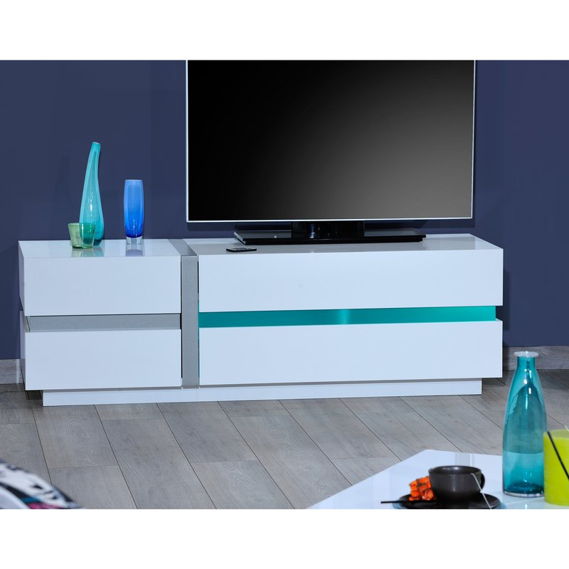 banc tv avec leds 150x84x50cm coloris blanc laqu maison. Black Bedroom Furniture Sets. Home Design Ideas