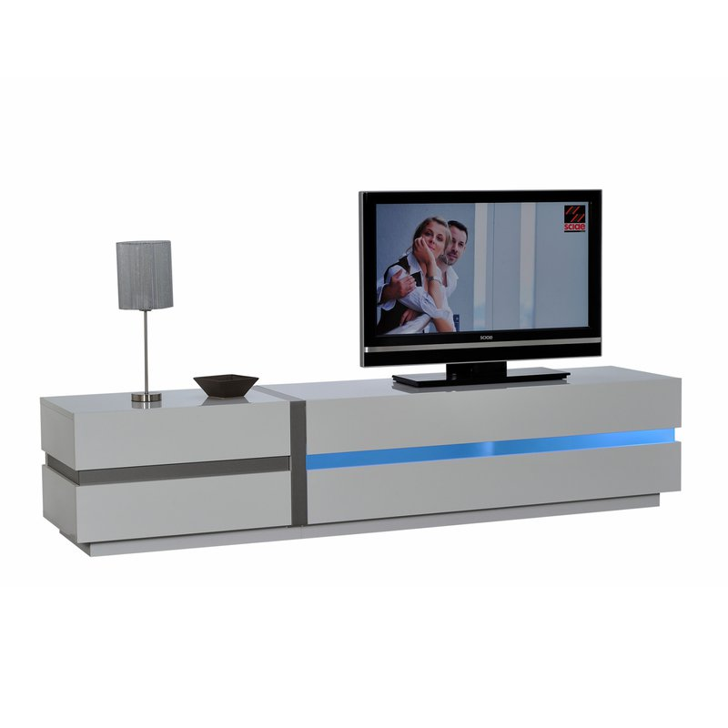 banc tv avec leds 220x84x50cm coloris blanc laqu maison. Black Bedroom Furniture Sets. Home Design Ideas