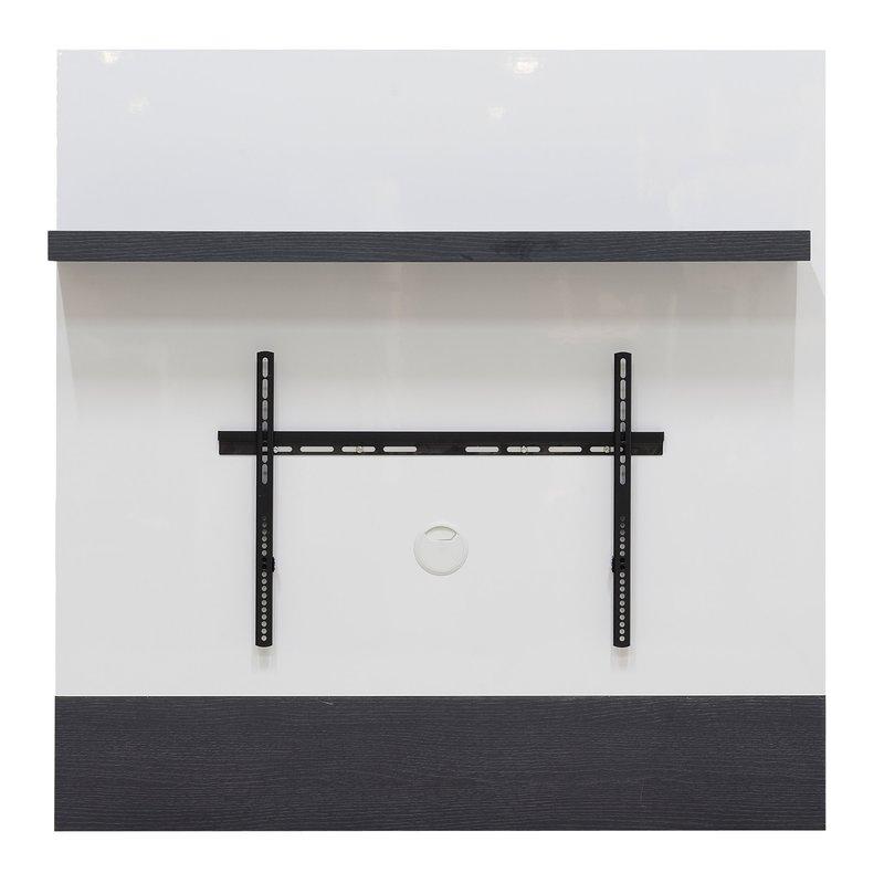 support mural pour tv avec tag re coloris blanc laqu et. Black Bedroom Furniture Sets. Home Design Ideas