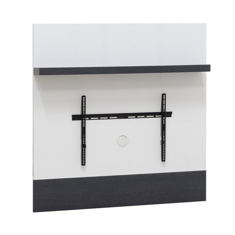 Support mural pour tv avec tag re coloris blanc laqu et gris maison et styles - Support tv mural avec etagere ...