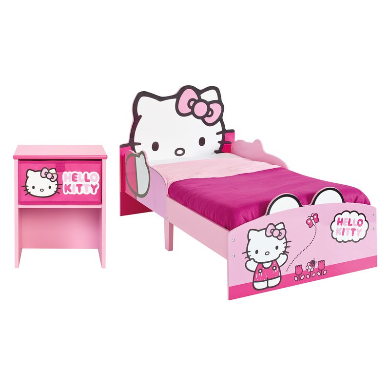 Lit hello kitty 140x70cm avec t te de lit chevet assorti - Tete hello kitty ...