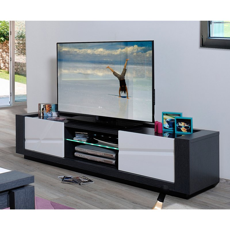 banc tv 2 portes avec leds coloris blanc laqu et gris maison et styles. Black Bedroom Furniture Sets. Home Design Ideas