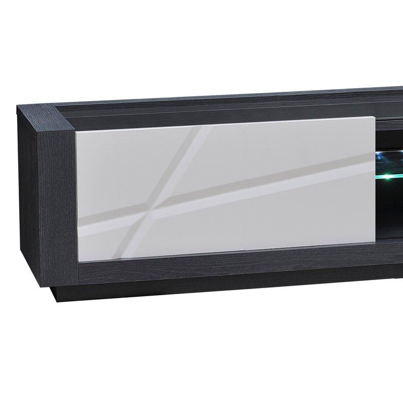 banc tv 1 porte avec leds coloris blanc laqu et gris. Black Bedroom Furniture Sets. Home Design Ideas