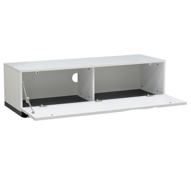 El ment bas leds pour meuble tv 130cm coloris blanc - Meuble bas laque blanc ...