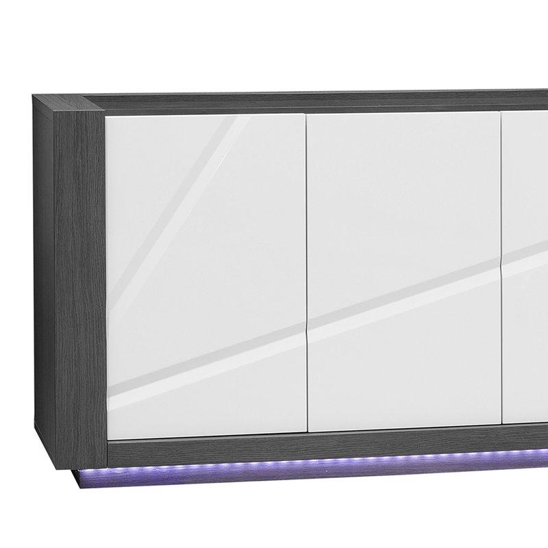 Enfilade 4 portes avec leds coloris blanc laqu et gris for Enfilade blanc laque