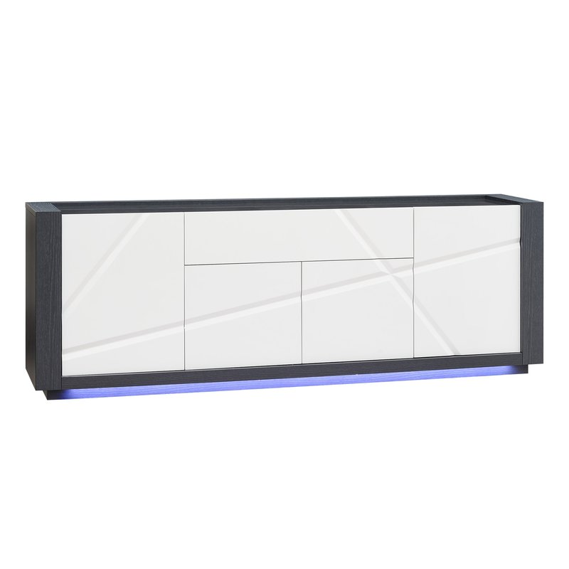 enfilade 4 portes 1 tiroir avec leds coloris blanc laqu. Black Bedroom Furniture Sets. Home Design Ideas