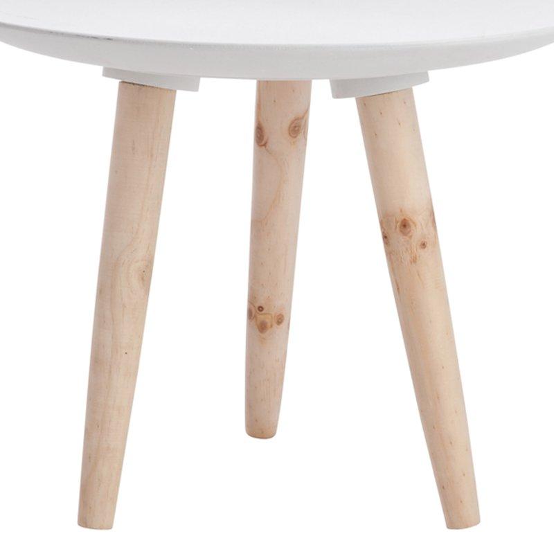 Table Bois Pied Blanc: Table D'appoint Pieds Obliques Coloris Blanc Et Bois