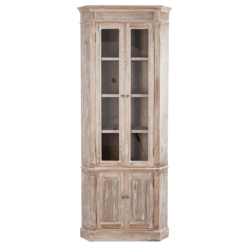 armoire d 39 angle 4 portes bois blanchi 61x61x195cm maison et styles. Black Bedroom Furniture Sets. Home Design Ideas