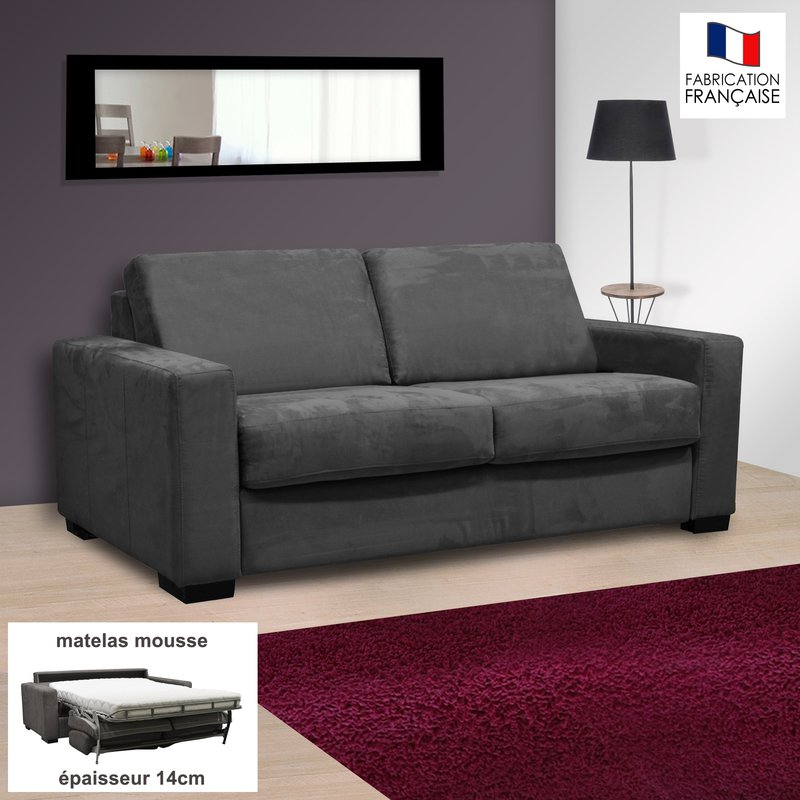 Canapé 2 places convertible 14cm microfibre coloris anthracite LOUISA