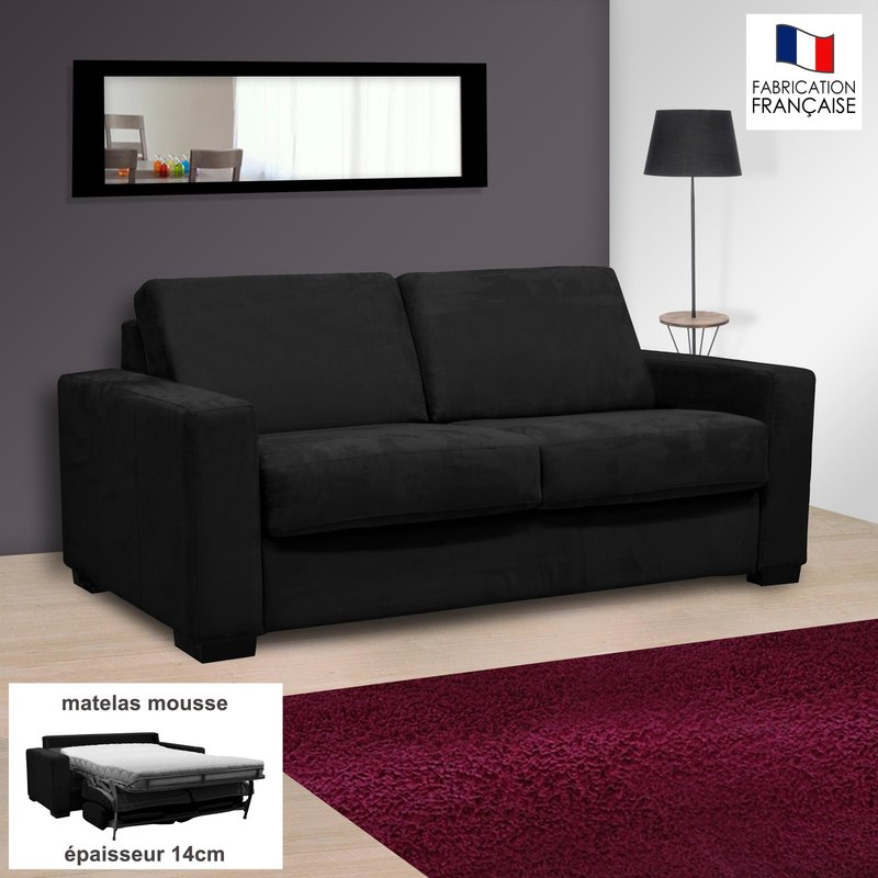 Canapé - Canapé 2 places convertible 14cm microfibre coloris noir LOUISA photo 1