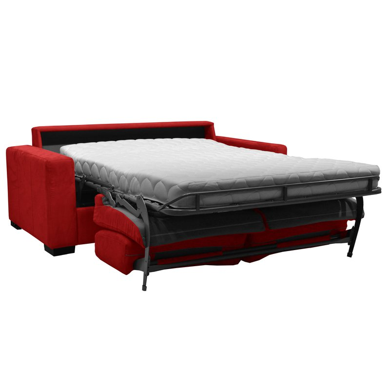 canap 2 places convertible bultex microfibre coloris rouge louisa maison et styles. Black Bedroom Furniture Sets. Home Design Ideas