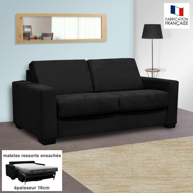canap 2 places convertible 16cm ressorts microfibre noir louisa maison et styles. Black Bedroom Furniture Sets. Home Design Ideas