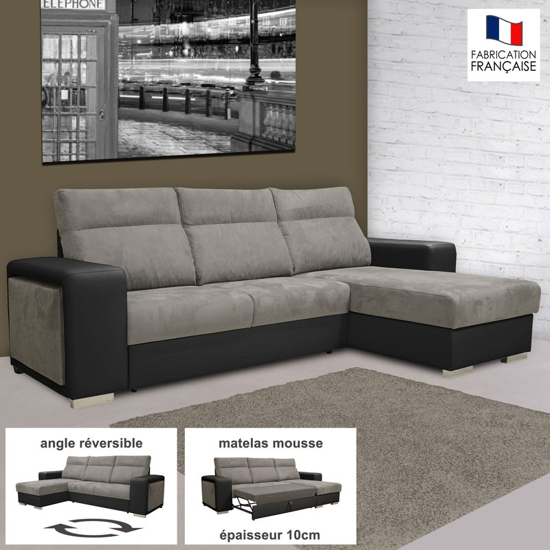 canap d 39 angle r versible convertible pu microfibre noir et gris maison et styles. Black Bedroom Furniture Sets. Home Design Ideas