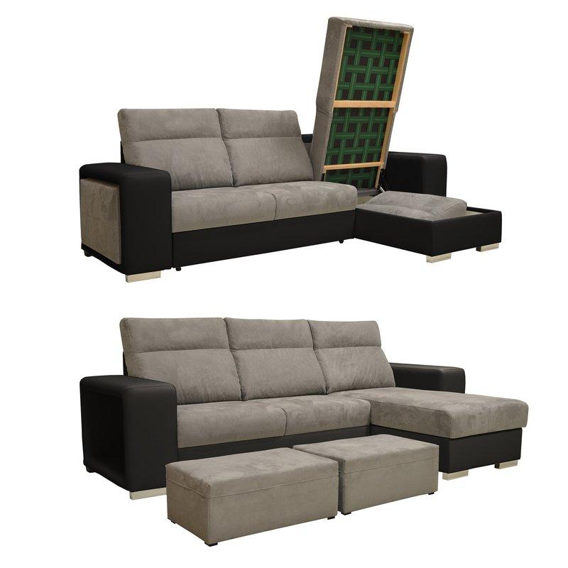 Canapé d angle réversible convertible PU microfibre noir et gris