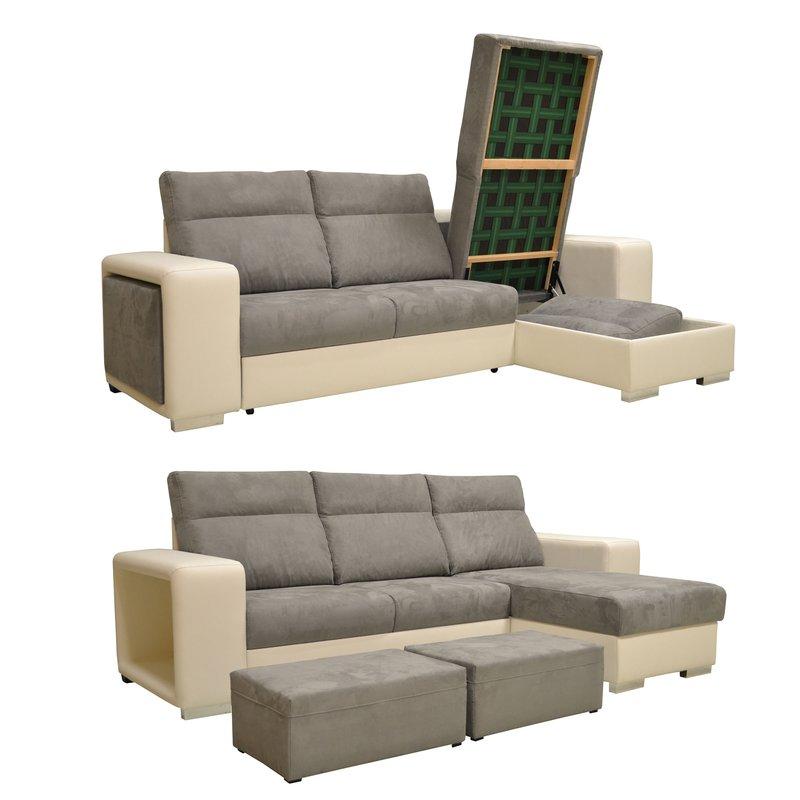 canap d 39 angle r versible convertible pu microfibre blanc et gris maison et styles. Black Bedroom Furniture Sets. Home Design Ideas