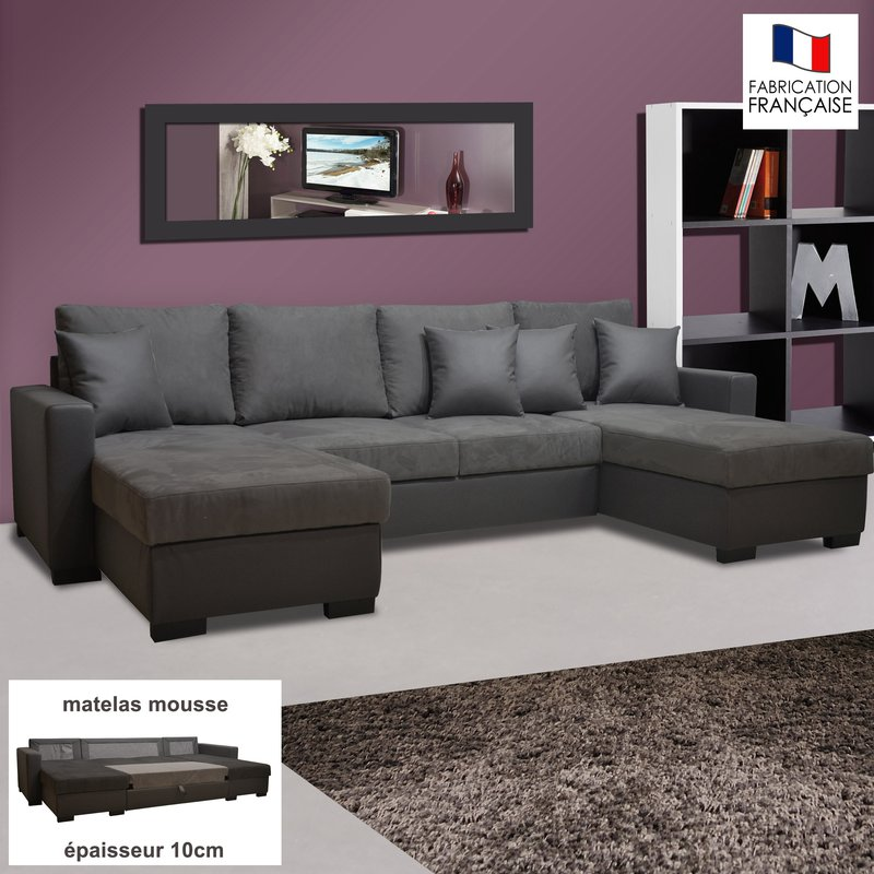 canap convertible double m ridienne pu microfibre coloris gris maison et styles. Black Bedroom Furniture Sets. Home Design Ideas