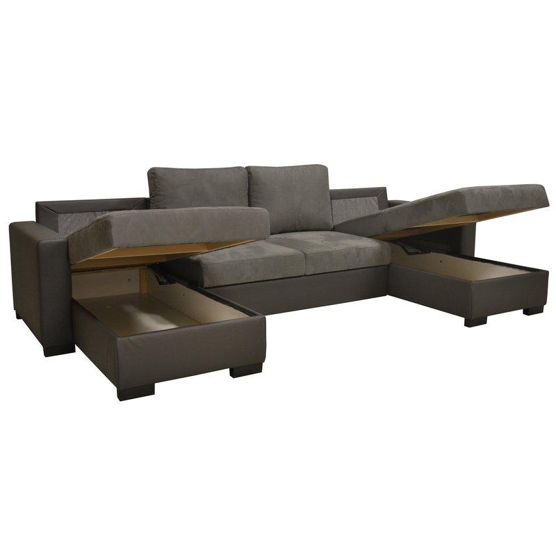 canap convertible double m ridienne pu microfibre coloris gris maison et styles. Black Bedroom Furniture Sets. Home Design Ideas