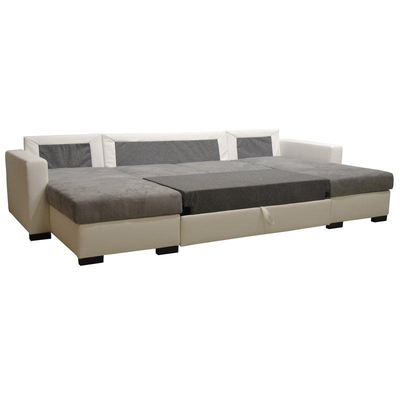 canap convertible double m ridienne pu microfibre coloris blanc gris maison et styles. Black Bedroom Furniture Sets. Home Design Ideas