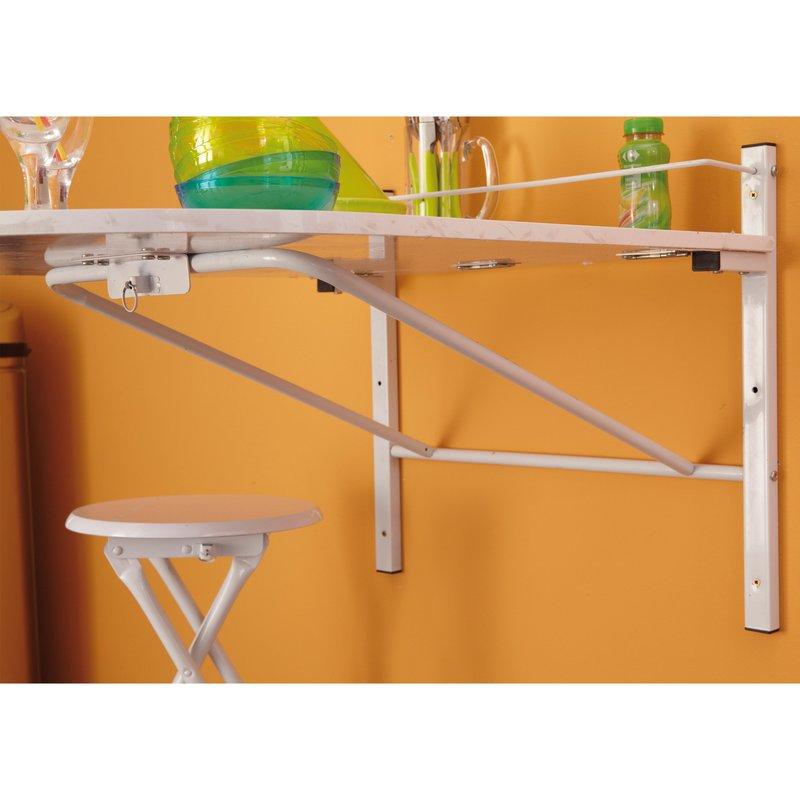 table murale pliable 2 tabourets coloris blanc maison et styles. Black Bedroom Furniture Sets. Home Design Ideas