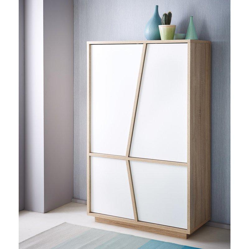bahut haut 2 2 portes ouvrantes coloris blanc perle et ch ne bross maison et styles. Black Bedroom Furniture Sets. Home Design Ideas
