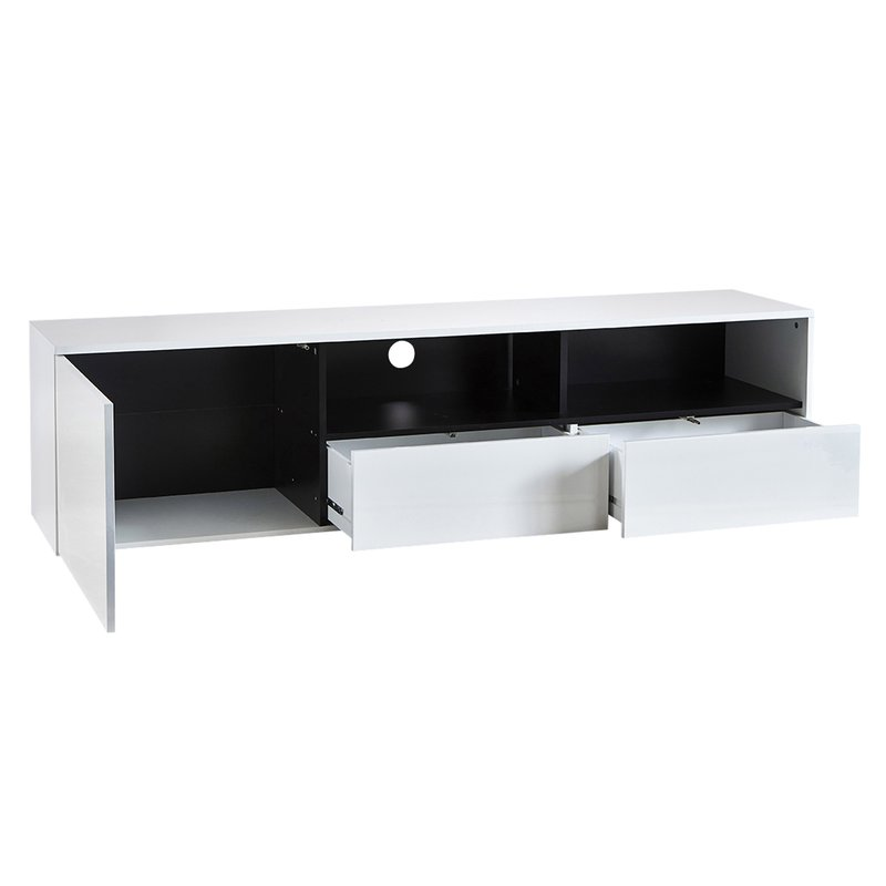 banc tv 1 porte 2 tiroirs coloris blanc et blanc brillant. Black Bedroom Furniture Sets. Home Design Ideas