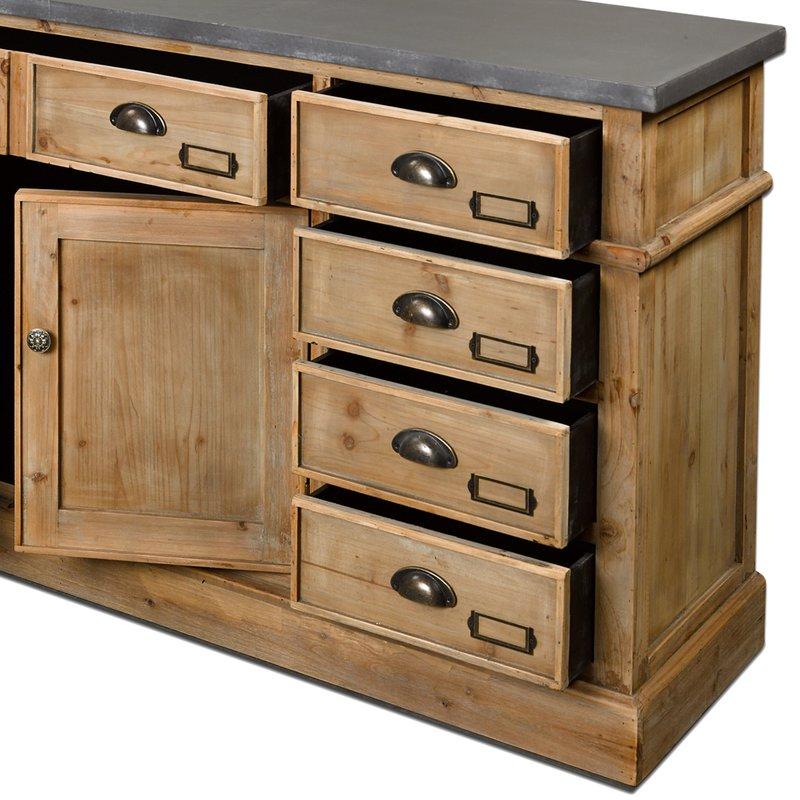 buffet 2 portes 10 tiroirs en bois maison et styles. Black Bedroom Furniture Sets. Home Design Ideas