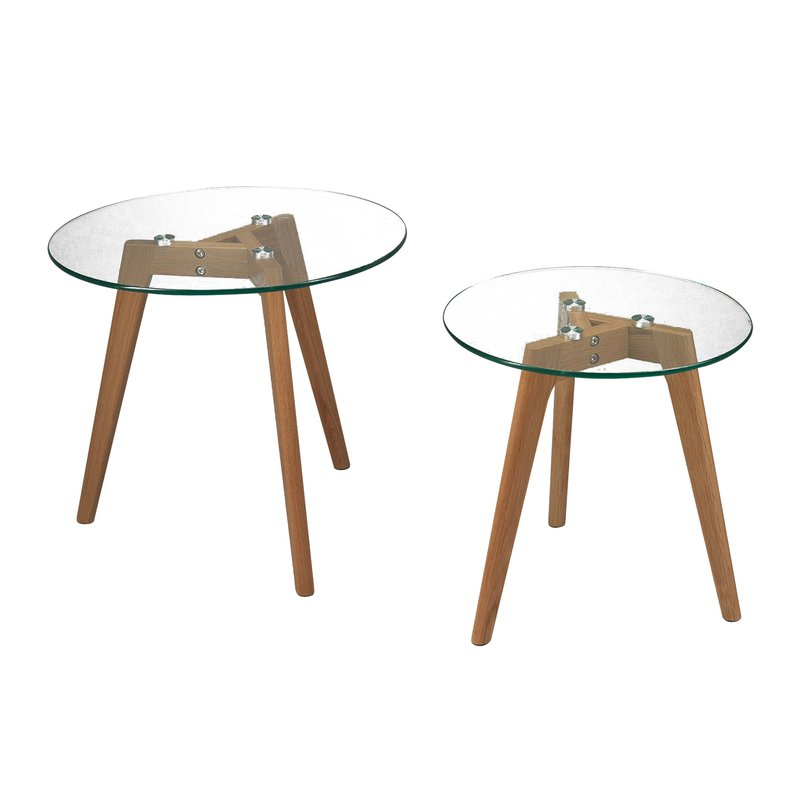 Lot de 2 tables gigognes pieds en ch ne plateau en verre for Table gigogne en verre
