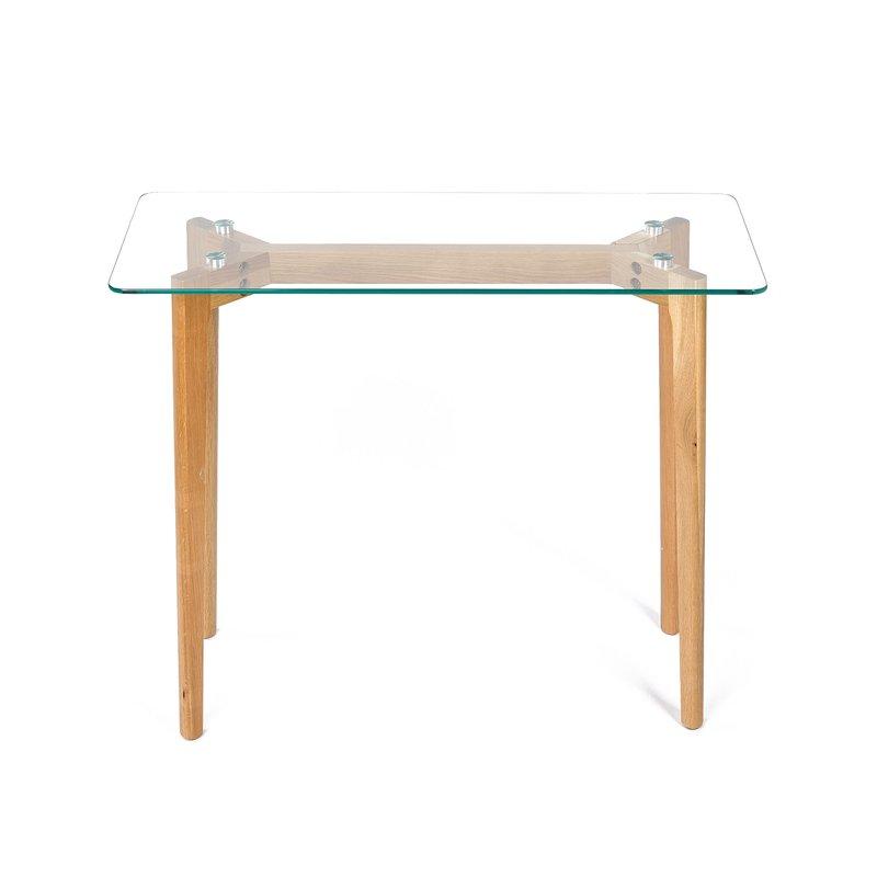 Console en bois 90x38x75cm plateau en verre maison et for Maison bois et verre