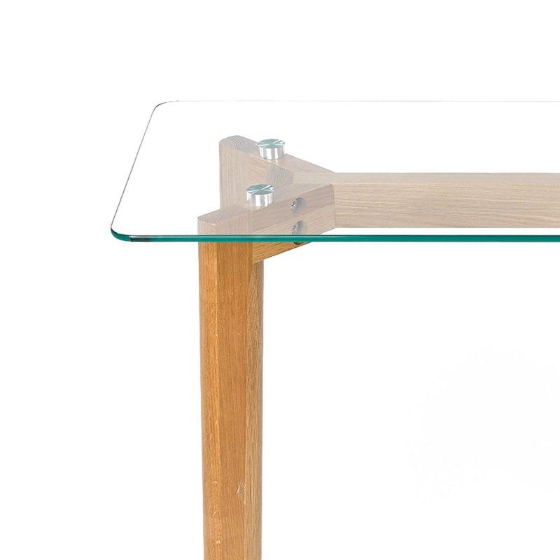 console en bois 90x38x75cm plateau en verre maison et styles. Black Bedroom Furniture Sets. Home Design Ideas